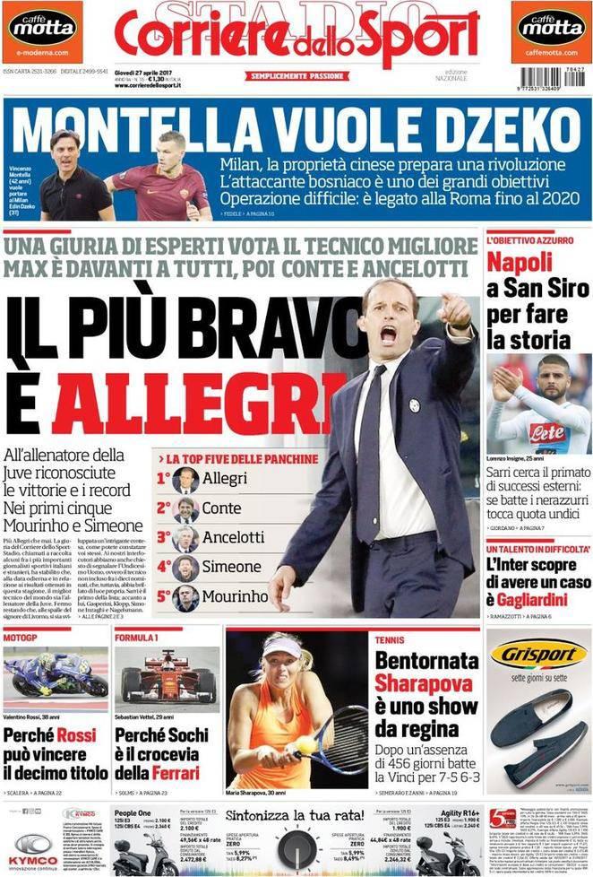 Corriere dello Sport: prima pagina del 27 aprile 2017